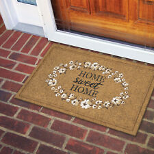 Outdoor Door Mat Home Sweet Home Autumn Doormat Floral 18 x 30 In Tan White