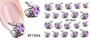 Purple Flowers Bunch Nail Art Sticker Decal Decoration Manicure Water Transfer