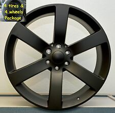 "(4) 20"" Tires Wheels Package Set TrailBlazer SS Envoy Replica Satin Black Rims"