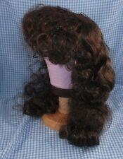 Vintage Brown Doll Wig sz 15 curly bangs & long wavy style Tallinas in package