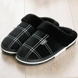 Men Warm Winter Slippers Soft Plush Non Slip Home Indoor Cozy Male Shoes Gingham