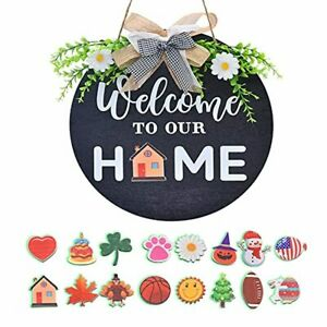 Porch Decor-16 Holiday Welcome Wreaths Sign for Front Door