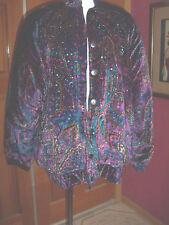 LILLIE RUBIN stunning velvet- like jeweled & beaded quilted jacket M pristine