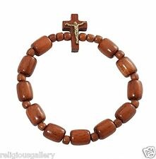 Brazilian Jatoba One Wood Beads Rosary Decade Stretchable Bracelet with Crucifix