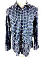JWN John Nordstrom Mens Button Front Shirt Sz XL Blue Long Sleeve Non Iron Euc