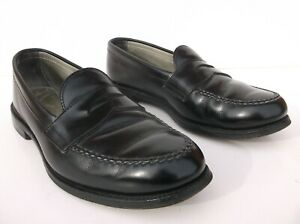ALDEN New England 681 Black Full Strap Slip On Penny Loafer Shoes 8.5 D