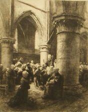 Antique etching 'La Visite Pastorale' Leon A. L'Hermitte, 1881