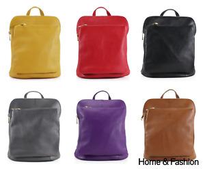 Ladies Women Real Leather Italian Medium Backpack School Travel Shoulder Bag