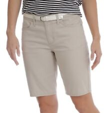 Lee Riders Women's Belted Belt Stretch Shorts Bermuda Taupe Mid Rise Size 10