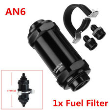 NEW Aluminum Car Inline Fuel Filter E85 Ethanol w/ 100 Micron Inlet -6 AN/Outlet