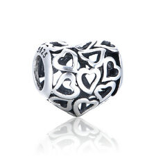 Openwork Heart Charm - Silver European Bead - Love Hearts Jewellery - Wedding