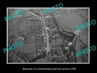 OLD LARGE HISTORIC PHOTO BUTTEVANT CORK IRELAND AERIAL VIEW OF TOWN c1950