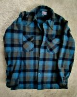 Pendleton 100%  Virgin Wool Men's Blue/Brown Plaid Long Sleeve Shirt, Sz M,