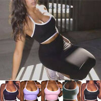 Hot Women Sports Yoga Fitted Crop Vest Tops Casual Blouse Gym Halter Tank Shirt