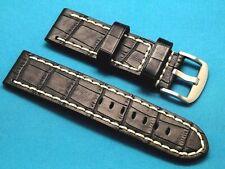 24mm Black Crocodile Grain Leather Replacement Watch Strap - U-Boat 24 Men's
