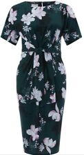 Monsoon Becky Front Tie Dress Teal Floral Uk 16 Bnwt Stretchy