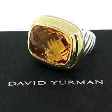 David Yurman Waverly Citrine Sterling Silver 18K Gold Bezel LARGE Ring Size 6