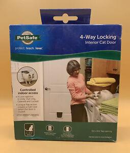 """PetSafe 4-Way Locking Indoor Cat Door White 5-1/2""""X6-1/8"""" Flap Opening P1-4W-11"""