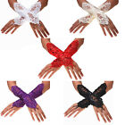 New Wedding Girls Evening Party Fingerless Pearl Soft Lace Satin Bridal Gloves