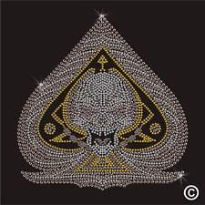 Ace Crâne Strass Diamante Transfert Fer Sur Hotfix Cristal gem motif appliqué