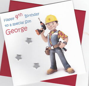 Personalised Handmade Bob the Builder Birthday Card - Son, Brother, Grandson etc