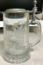 Alwe Glass Beer Stein W/ Pewter Lid. Flying Ducks & Geese Etched Scene