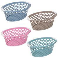 Large Pastel Laundry Basket With Handles Storage Washing Bin Plastic Hamper Tidy