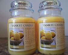 Lot of 2 Yankee Candle   NEW  Lemon  22 oz. Candles Free Shipping   Super Scent