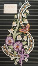 """inklusive Saughaken Fensterbild Plauener Stickerei /""""Blütenzauber/"""""""
