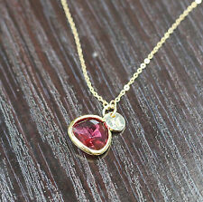 Birthstone pendant initial charm necklace personalized necklace for girlfriend