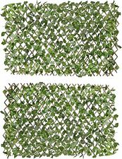 More details for 2x garden artificial screening expanding trellis fence privacy screen ivy leaves
