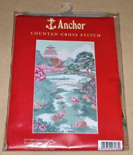 "Anchor ""Oriental Harmony"" Cross Stitch Kit NIP 21x12"" Cranes, Flowers & Bridge"