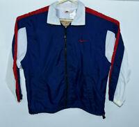 Vintage Nike Men's Large Zip Up Windbreaker Blue White