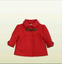 NWT NEW Gucci baby girls red Wool Cashmere Coat Jacket Bamboo toggle 9/12m $495!