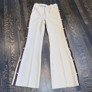 NOS Vtg 60s 70s Mens 29 TUXEDO Suit Pants POLYESTER Disco Bell Bottoms Tan Brown