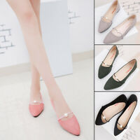 Women Solid Color Suede Pointed Toe Basic Slip On Pearl Ballet Shoes Flats New