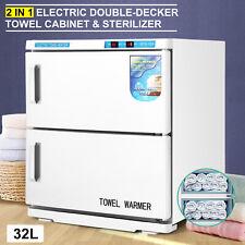 32L Double-Decker Hot Towel Cabinet Warmer UV Sterilizers Beauty Salon Equipment