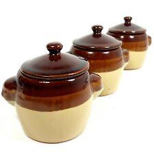 Mini Bean Crock Jar 3 Tone Serving Bowl w/ lid Microwave Safe Made in Taiwan x 3