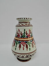 Florero de ceramica vidriada popular española, pintado a mano Estilo Talavera.