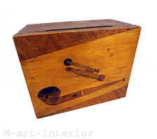 Alte Holz Tabak Kasten Pfeifen Raucher Schatulle Handarbeit Intarsien 40er 50er