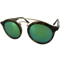 Ray Ban Mens RB4256 Gatsby I Round Designer Sunglasses, Tortoise/Green Mirror