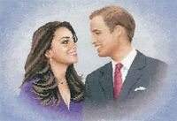 William and Catherine Cross Stitch Kit - Royal Wedding - 14 Count - 8.75 x 12.7""