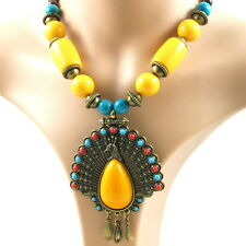Necklace fashion Mongolian retro vintage style large pendant peacock wood beads