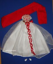 Barbie Fashion Red/White Gown For Model Muse Barbie Doll hf11