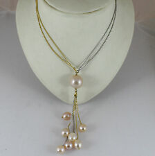18K YELLOW WHITE GOLD NECKLACE PENDANT, ROSE PEARL DIAMETER 1,5 CM MADE IN ITALY
