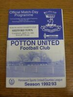 15/09/1992 Potton United v Shefford Town [North Beds Charity Cup] (Rusty Staple)