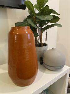 Crate and Barrel Pottery Vase Burnt Orange