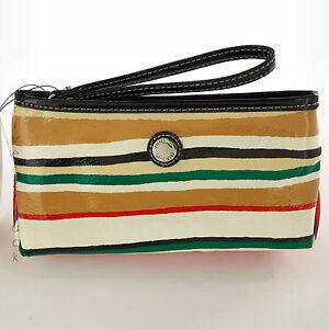 NINE & CO. Women's MULTI-COLOR STRIPE WRISTLET with BLACK STRAP Small CLUTCH Bag