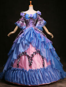 Royal Vintage Costume Women's Rococo Princess Ball Gown Blue Plaid Tiered Flower