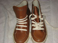 Vintage Ralph Lauren High Top Sneaker Brown LeatherChukka Shoes Men's Size 9D